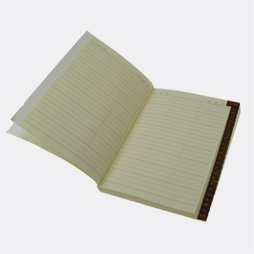 Address book with leather tabs