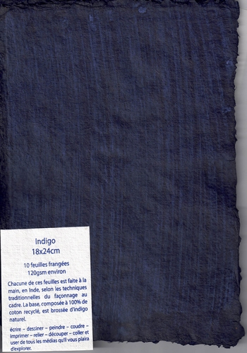 Rag paper pack of 10 sheets - 18x24 cm - Indigo