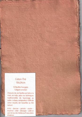 Rag paper pack of 10 sheets - 18x24 cm - Tea