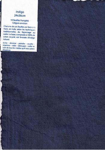 Lappenpapier Packung von 10 Bogen - 24x36 cm - Indigo