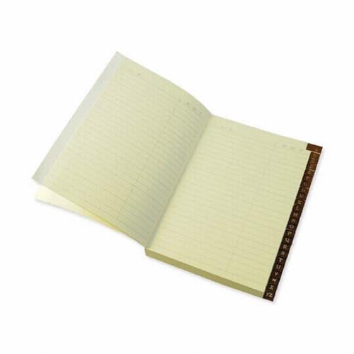 Address book with leather tabs - ivory paper