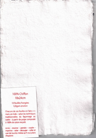 Rag paper pack of 10 sheets - 18x24 cm - white