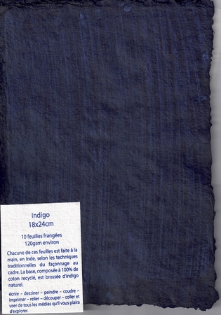 Rag paper pack of 10 sheets - 18x24 cm - Indigo