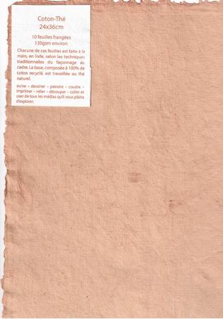 Rag paper pack of 10 sheets - 24x36 cm - Tea