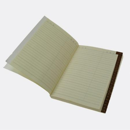 Adresboek met leren tabbladen - cremekleurig - snede verguld